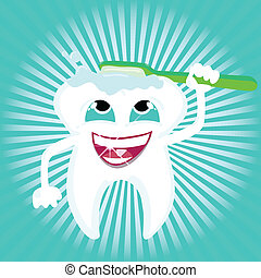 Tooth vector cleaning itself with toothbrush shiny dental care, Zip includes 300 dpi JPG, Illustrator CS, Illustrator 10