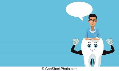 Dentist with strong tooth cartoon High Definition coloful animation scenes