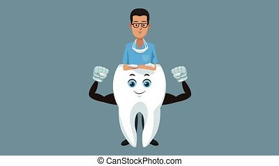 Tooth dental cartoon HD animation - Dentist with strong...