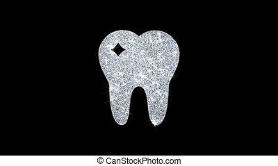 Tooth Dental, dentist Icon Shining Glitter Loop Blinking...