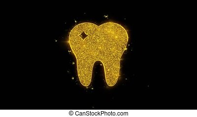 Tooth Dental, dentist Icon Sparks Particles on Black...
