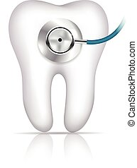 Tooth diagnostic - Tooth and phonendoscope abstract...