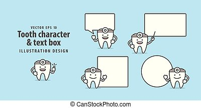 Tooth doctor character & text box illustration vector on blue background. Dental concept.