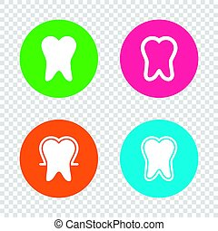 Tooth enamel protection icons. Dental care signs.
