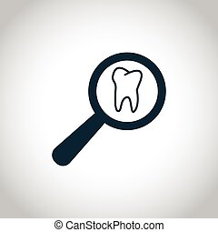 Tooth examination sign - Tooth examination icon. Black flat...