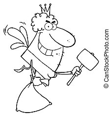 Tooth Fairy Flying With A Mallet