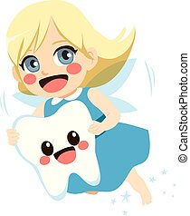 Tooth Fairy Girl - Cute blonde tooth fairy girl flying...