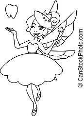 Line art illustration of the happy tooth fairy, flying on white background.