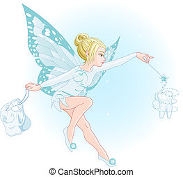 A tooth fairy with a magic wand and a bag full of teeth. All objects are separate groups