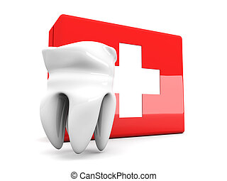 Tooth First aid - 3D rendered Illustration. Isolated on...