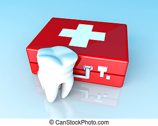 Tooth First aid - A tooth and a first aid case. 3D rendered...