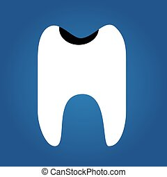 tooth, flat icon isolated on a blue background for your design, vector illustration