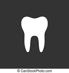 Tooth flat icon on a black background