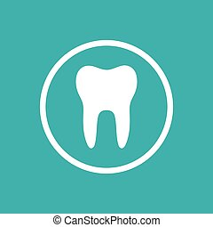Tooth flat icon with a circle on a green background