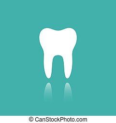 Tooth flat icon with reflection on a green background