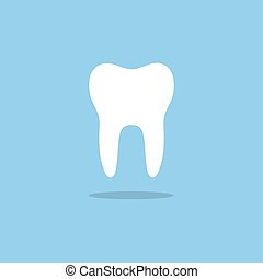 Tooth flat icon with shade on a blue background