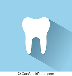 Tooth flat icon with shadow on a blue background