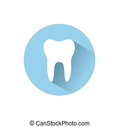 Tooth flat icon with shadow on a blue circle