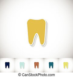 Tooth. Flat sticker with shadow on white background