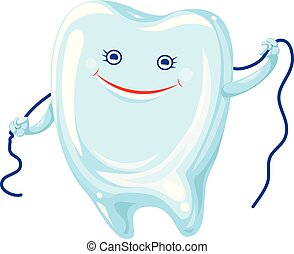 Tooth floss icon, cartoon style