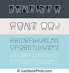 Tooth Font - Alphabet for Dental Designs Template and Other...