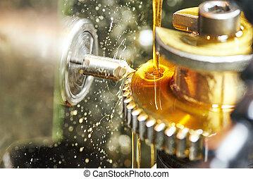 tooth gear wheel machining - metalworking industry. tooth...