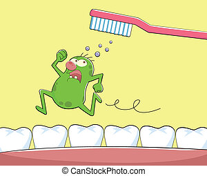 tooth germ - germ runs away from tooth brush