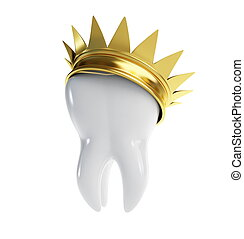 tooth gold crown on a white background