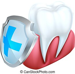 Tooth Gum Shield Concept - A medical dental illustration of...
