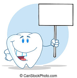 Tooth Holding A Blank White Sign