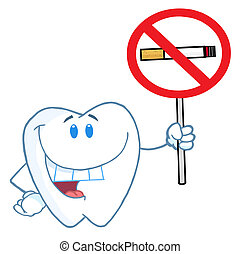 Tooth Holding Up A No Smoking Sign - Dental Tooth Character ...
