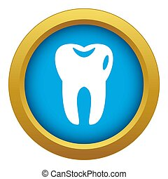 Tooth icon blue isolated
