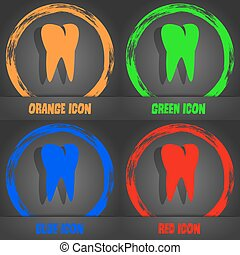 tooth icon. Fashionable modern style. In the orange, green, blue, red design. Vector