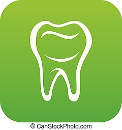 Tooth icon green vector