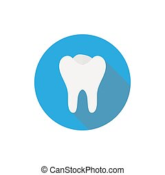 Tooth icon in a flat design with long shadow illustration