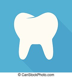 Tooth icon in a flat style. Vector illustration of white tooth icon with shadow on a blue background.