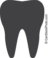 Tooth icon in black on a white background. Vector illustration