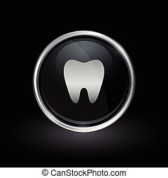 Tooth icon inside round silver and black emblem