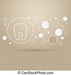 Tooth Icon on a brown background with elegant style and modern design infographic.