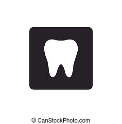tooth icon Rounded squares button, on white background