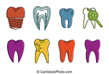 Tooth icon set, color outline style
