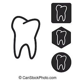 Tooth icon set, monochrome