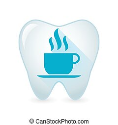 Tooth icon with a cup of coffee