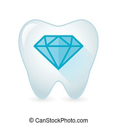 Tooth icon with a diamond