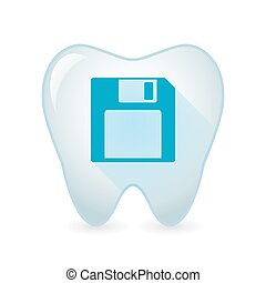 Tooth icon with a floppy disk - Illustration of an isolated...