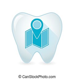Tooth icon with a map