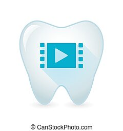 Illustration of an isolated tooth icon with a multimedia sign