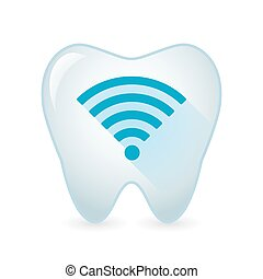 Tooth icon with a radio signal sign