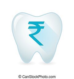 Tooth icon with a rupee sign