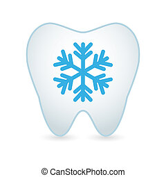 Tooth icon with a snow flake - Illustrationof an isolated...